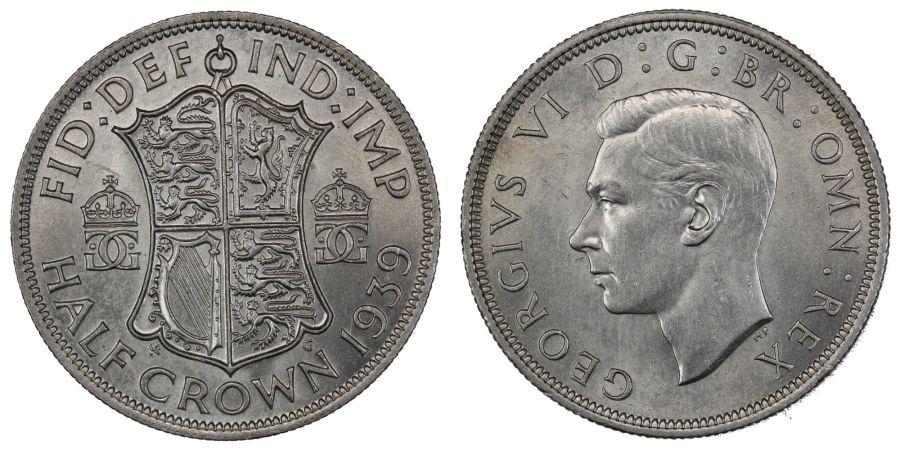 1939 Halfcrown, aUNC, George VI, ESC 789