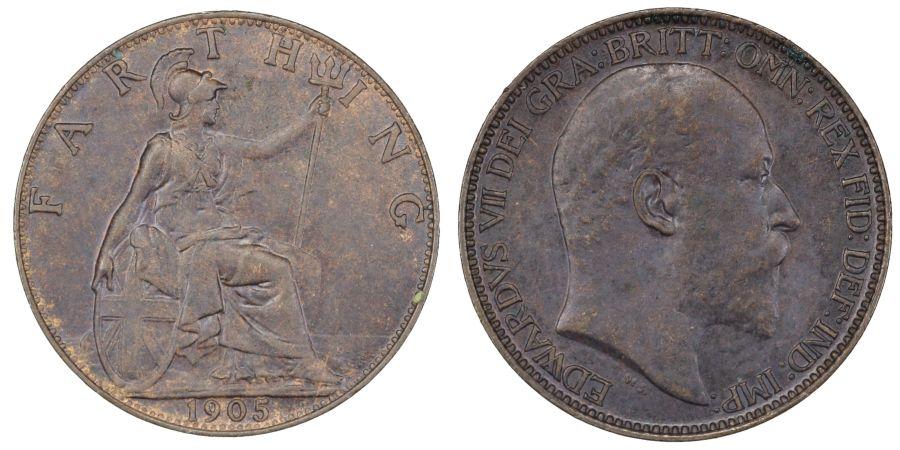 1905 Farthing, aUNC, Edward VII, Freeman 583