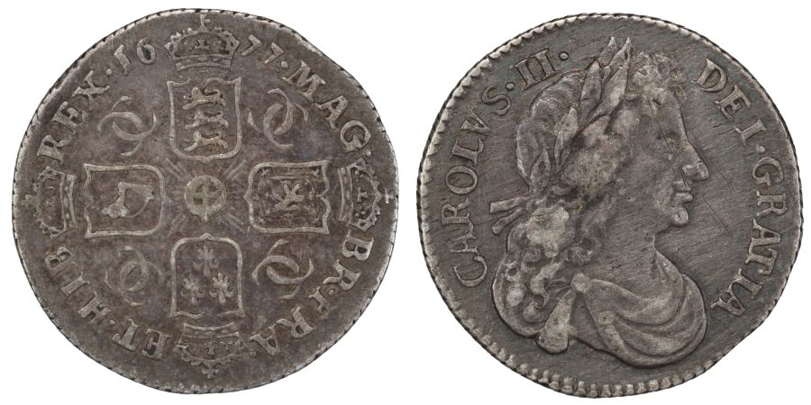 1677 Sixpence, G over O in MAG, gVF/VF, Charles II, ESC 1516A, Bull 572