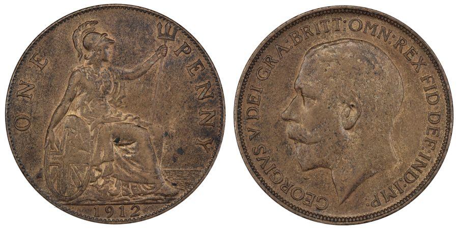 1912 H Penny, gEF, George V, Freeman 173