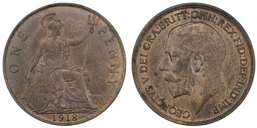 1918 Penny, aUNC, George V, ESC 182