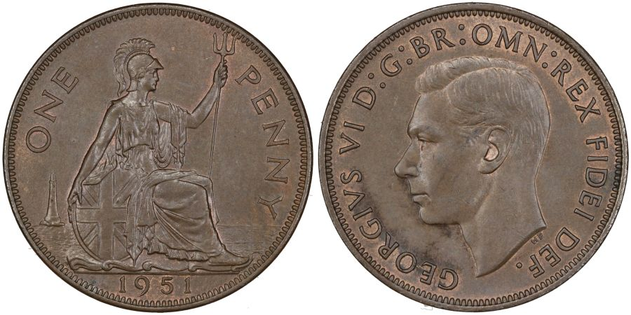 1951 Penny, UNC toned with traces of lustre, George VI, Freeman 242