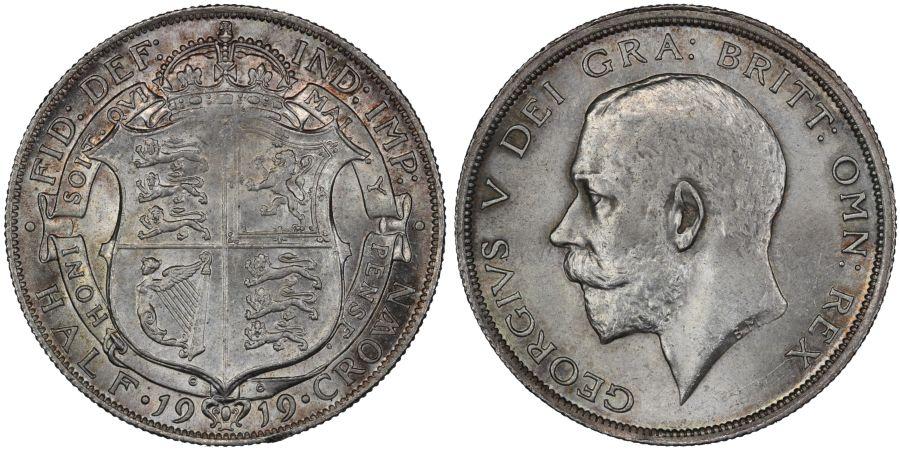 1919 Halfcrown, UNC, George V, ESC 766, Bull 3718, Scarce