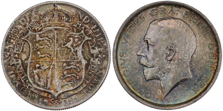 1918 Halfcrown, toned UNC, ESC 765