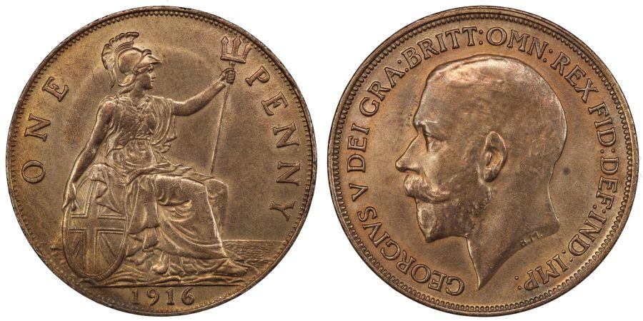 1916 Penny, Ordinary Ear, gEF/AU rubbed, Freeman 180
