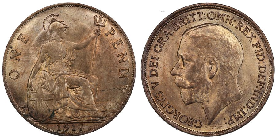 1917 Penny, Lustrous aUNC with small reverse scratch, Freeman 181
