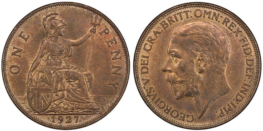 1927 Penny, aUNC, George V, Freeman 199