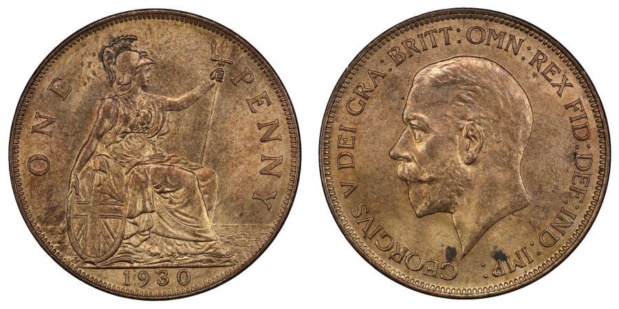 1930 Penny, UNC couple of spots, George V, Freeman 203