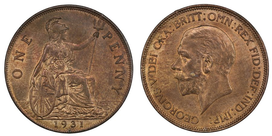 1931 Penny, UNC, George V, Freeman 205