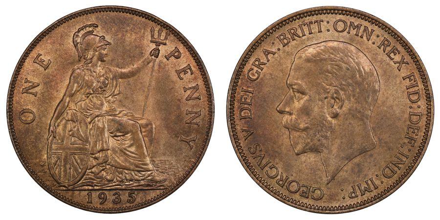 1935 Penny, UNC, George V, Freeman 212