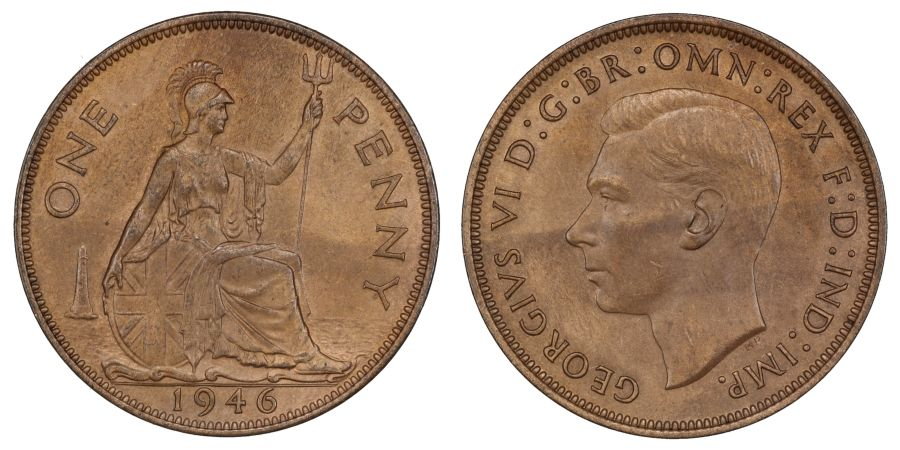 1946 Penny, UNC or very near, Not mint toned, George VI, Freeman 233