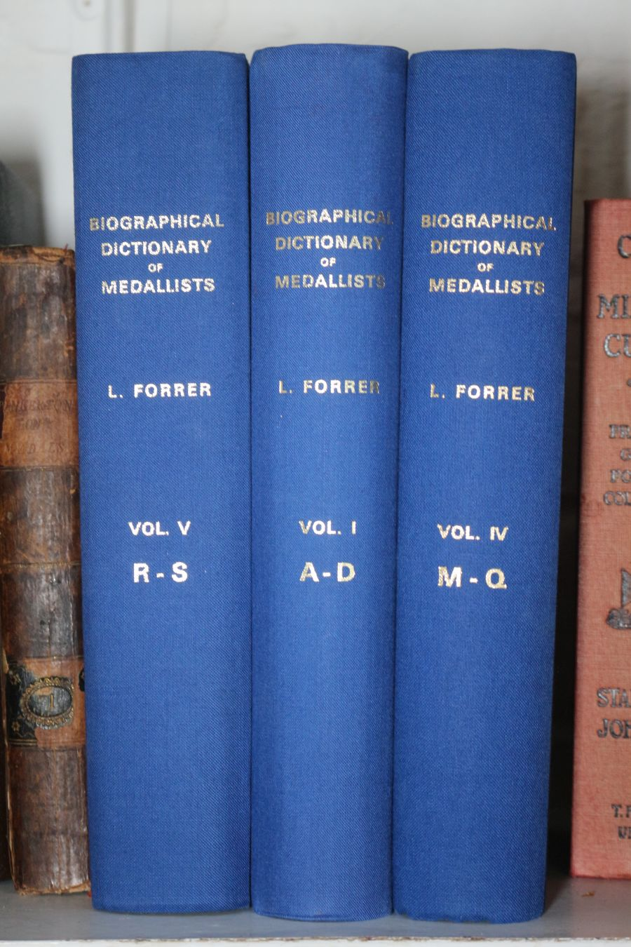 Biographical dictionary of medallists by L.Forrer, Volumes I, IV and V