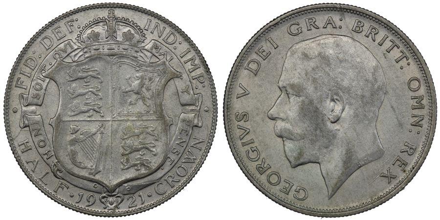 1921 Halfcrown, gVF, George V, ESC 940