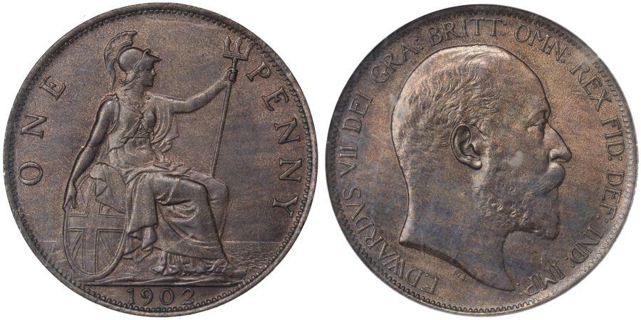 1902 Penny, High tide, CGS 75, aUNC, Edward VII, Freeman 157, UIN 18136