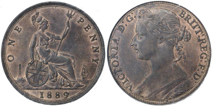 1889 Penny, 14 Leaves, CGS 70, Victoria, Freeman 128, UIN 40473