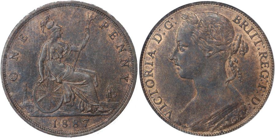 1887 Penny, CGS 75, Victoria, Freeman 125, UIN 40472
