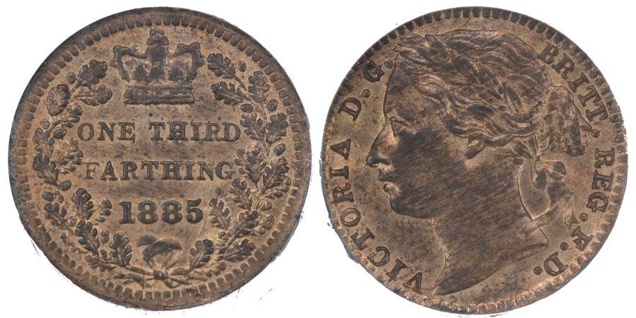 1885 Third Farthing, Victoria, CGS 82, UNC, Peck 1937, UIN 37539