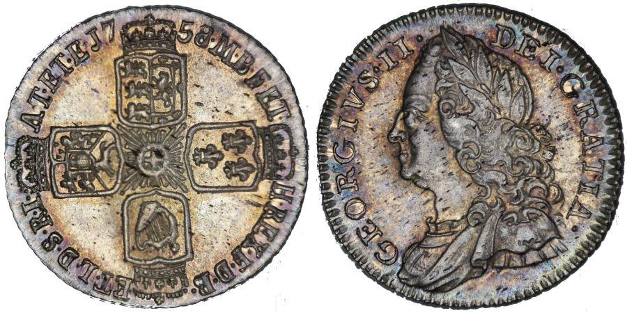 1758 Sixpence, NGC MS 63, George II, ESC 1623, Bull 1763, UIN 5841274-034