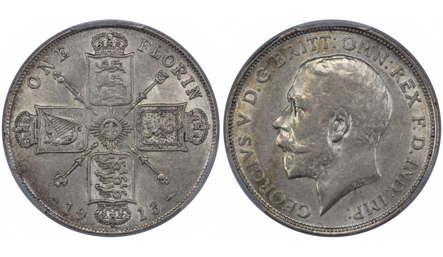 1913 Florin, PCGS AU58, nEF, ESC 932, Bull 3758, Scarce