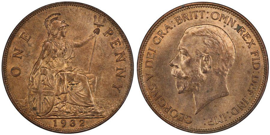 1932 Penny, Lustrous UNC, George V, Freeman 207