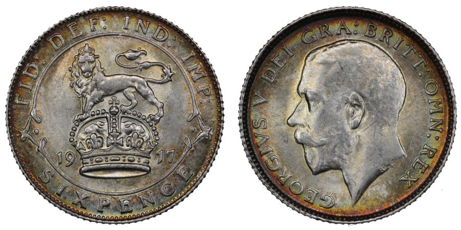 1917 Sixpence, NGC MS 65, lightly toned UNC, UIN 5841274-030
