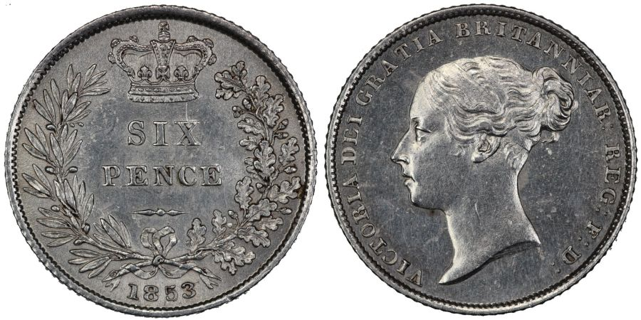1853 Sixpence, NGC MS 62, UNC or near so, Victoria, Scarce, ESC 1698, Bull 3189, UIN 5841274-031