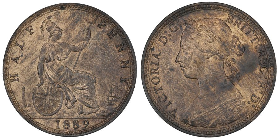 1889 Halfpenny, aUNC with streaky subdued lustre, Freeman 360, Victoria