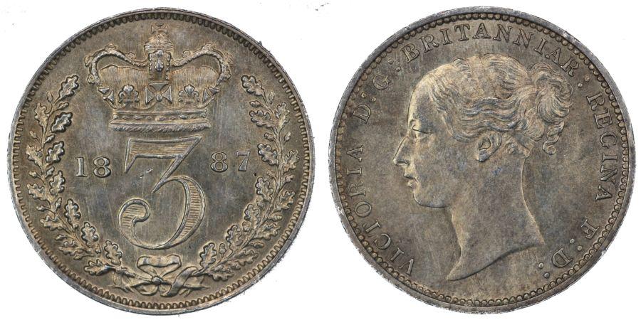 1887 Threepence, 3d, aUNC, ESC 2094, Bull 3434, Davies 1315, R2 (C&R)