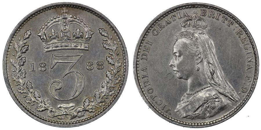 1888 Threepence, 3d, gEF, Victoria, ESC 2098, Bull 3438, Davies 1333, Rare (C&R)