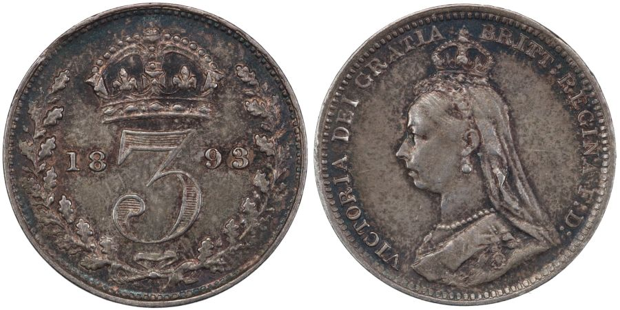 1893 'Jubilee head' Threepence, NGC AU58, attractively toned, Victoria, R3 (C&R), ESC 2103, Bull 3443