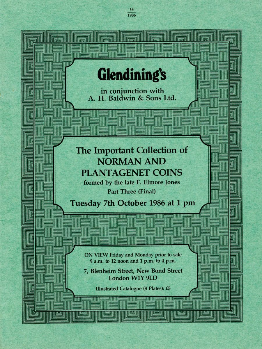 The important collection of Norman & Plantagenet coins formed by the late F. Elmore Jones, Part three (Final), Glendining's, 7th October 1986