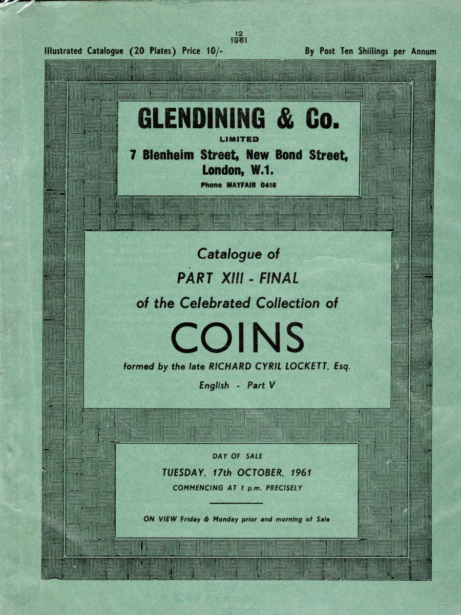 Lockett, Part XIII - Final sale and part V of the English coins.