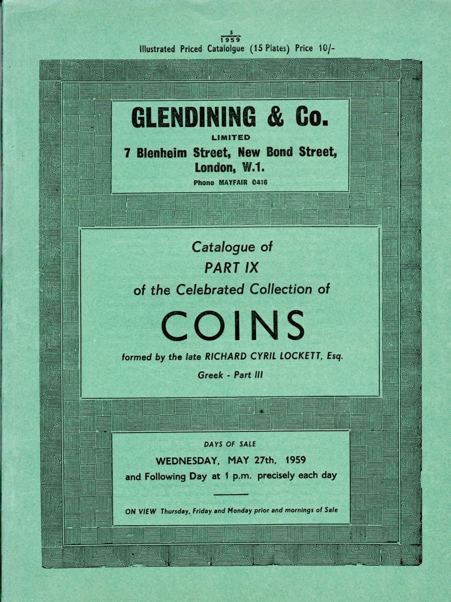 Lockett, Part IX - Part III of the Greek coins, Glendining & Co, 27th May 1959, Priced catalogue