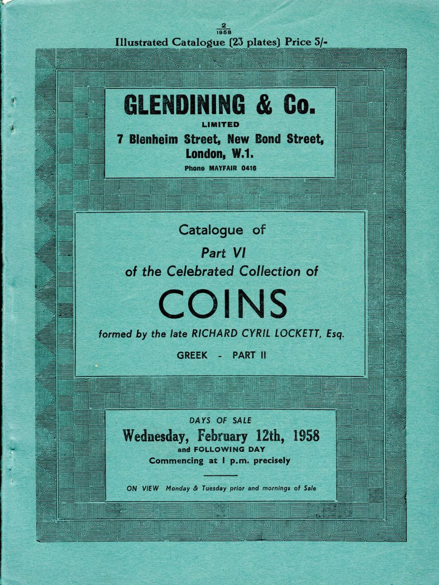 Lockett, Part VI - Part II of the Greek coins, Glendining & Co, 12th Feb 1958
