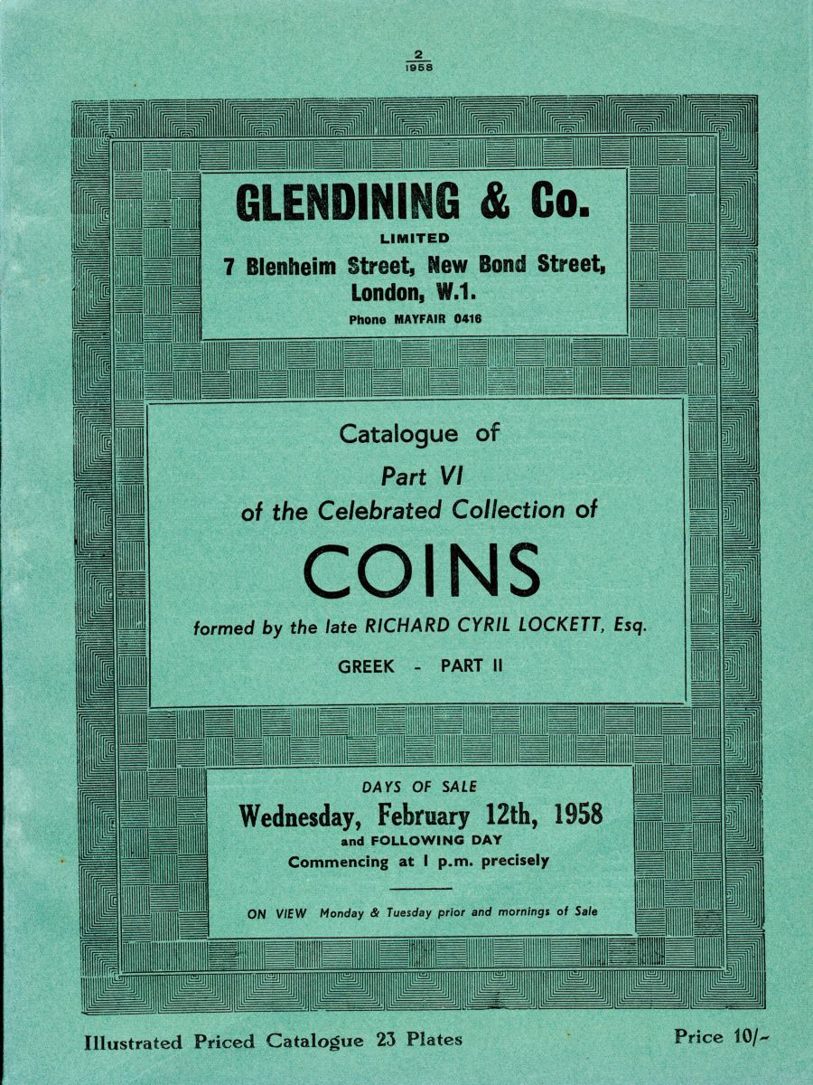 Lockett, Part VI - Part II of the Greek coins, Glendining & Co, 12th Feb 1958, Priced catalogue