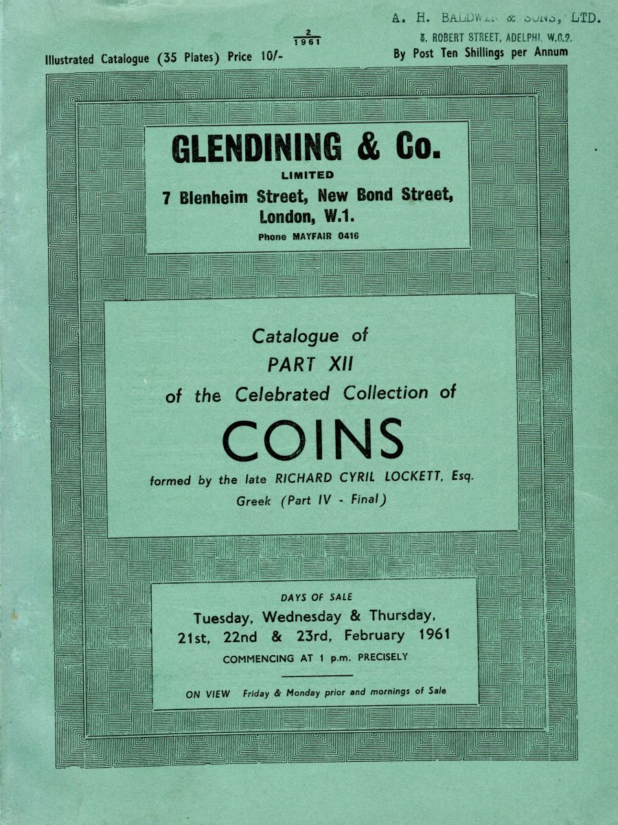 Lockett, Part XII - Part IV of the Greek coins, Glendining & Co, 21st, 22nd & 23rd Feb 1961