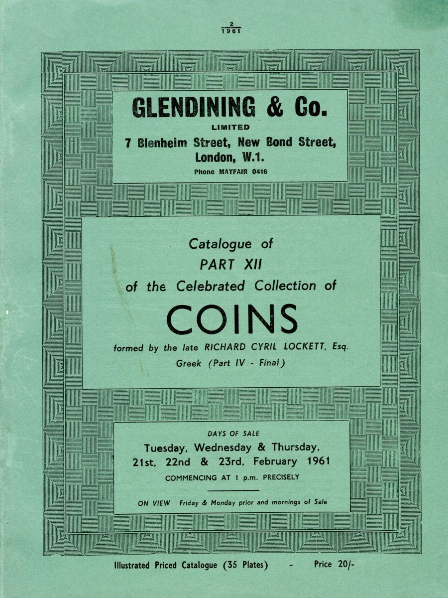 Lockett, Part XII - Part IV of the Greek coins, Glendining & Co, 21st, 22nd & 23rd Feb 1961, Priced catalogue