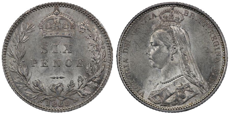 1888 Sixpence, aUNC, Victoria, ESC 1756, Bull 3277, Davies 1161, Dies 1+A