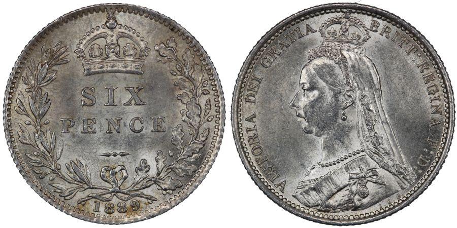 1889 Sixpence, gEF, Victoria, ESC 1757, Bull 3279, Davies 1165, Dies 1+D
