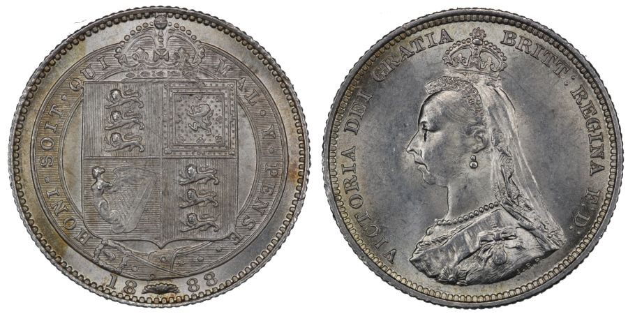 1888/7 Shilling, aUNC, Victoria, ESC 1353A, Bull 3140, Davies 983
