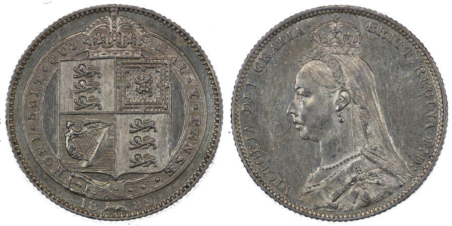 1889 Shilling, gEF, Victoria, ESC 1355, Bull 3142, Davies 987, Dies 3D