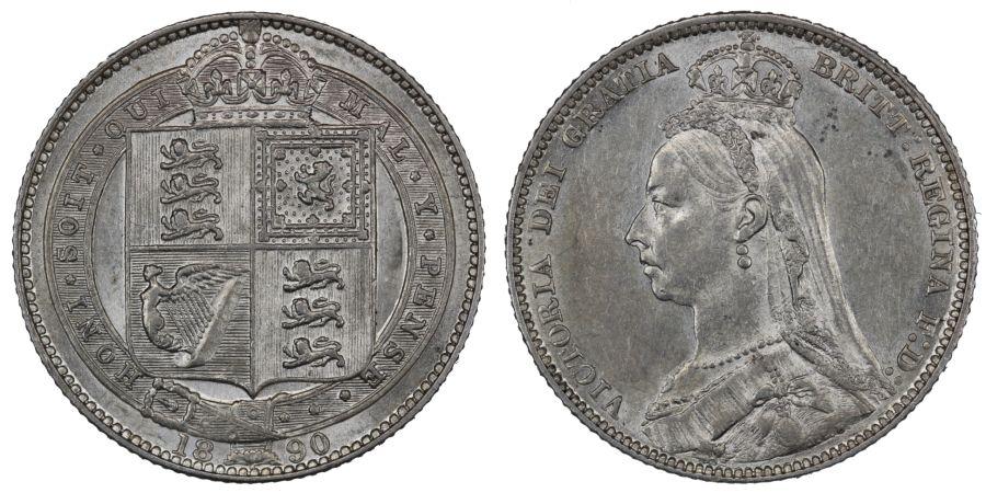 1890 Shilling, EF, Victoria ESC 1357, Bull 3144, Davies 988