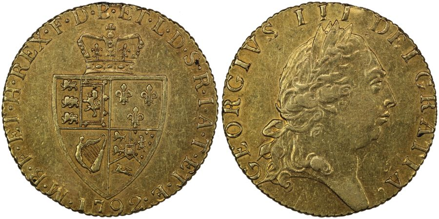 1792 Guinea, gVF, George III, Ex B. A. Seaby (1952), Fifth head, Spade type, S. 3729