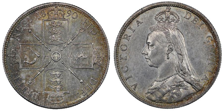 1890 Florin, gEF, R2, Victoria, ESC 872, Bull 2958, Davies 817, 3D