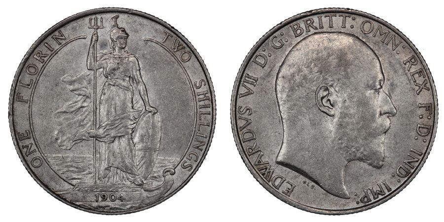 1904 Florin, EF, Edward VII, ESC 922, Bull 3580, Davies 1532