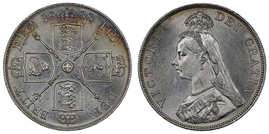 1888 Double Florin, aUNC, Victoria, ESC 397, Bull 2699, Davies 542