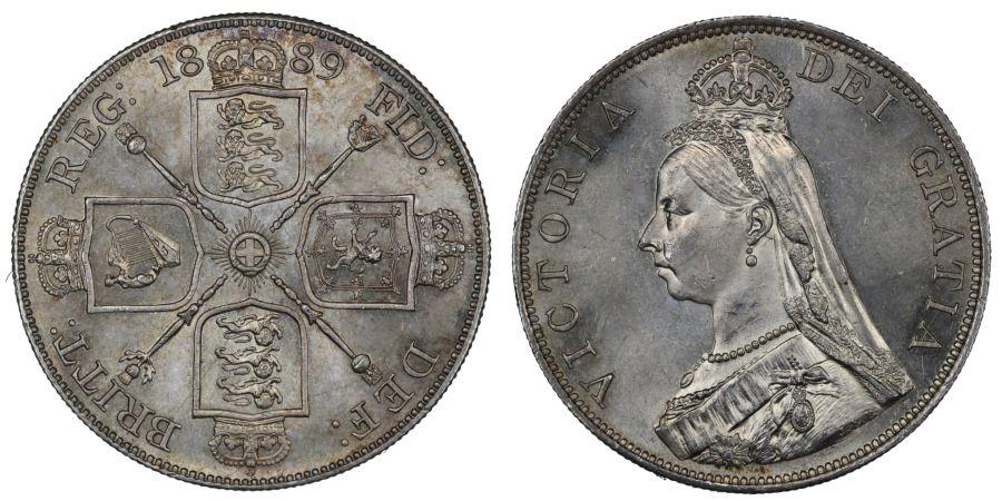 1889 Double Florin, UNC, Victoria, ESC 398, Bull 2701, Davies 544, Dies 2+C