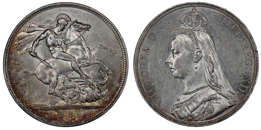 1889 Crown, EF, ESC 299, Bull 2589, Davies 484, Dies 1+C