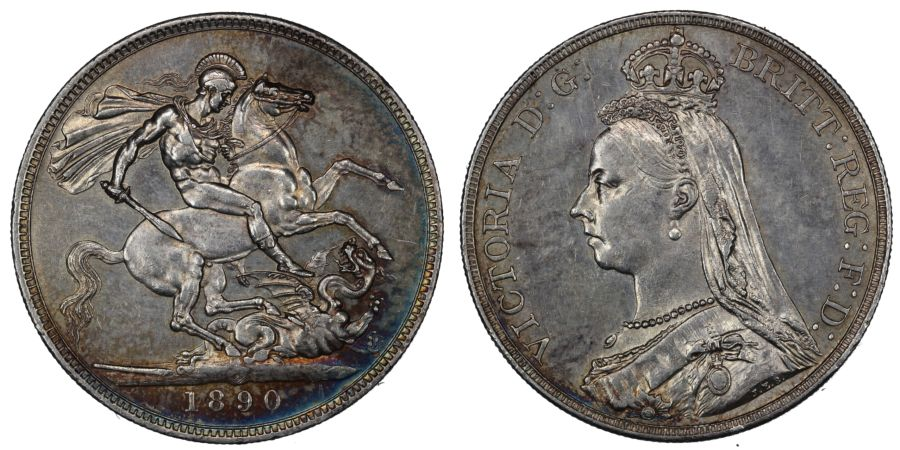 1890 Crown, EF rev scratch, Victoria, ESC 300, Bull 2590, Dies 1+A