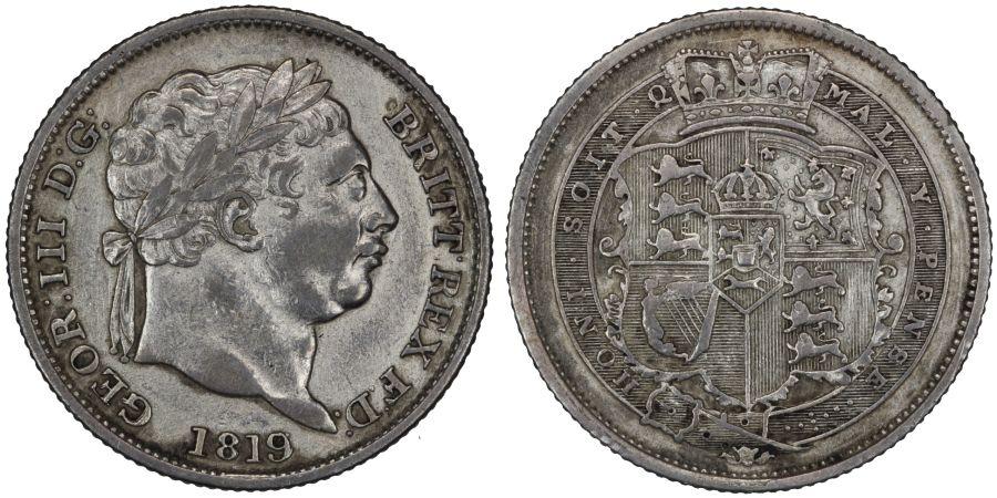 1819/6 Shilling, aVF, George III, Rare, Davies 87, ESC 2154, Bull 1235B